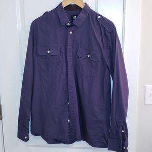 H&M dress shirt blue with collar